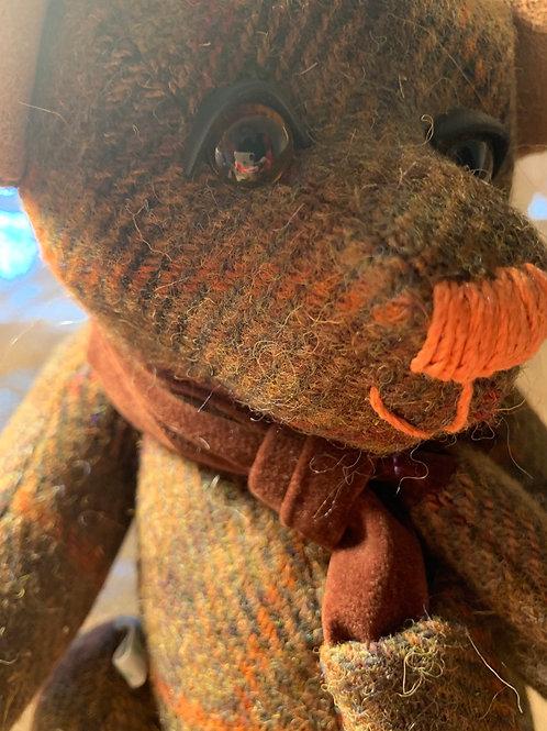 Dark brown Harris tweed bear