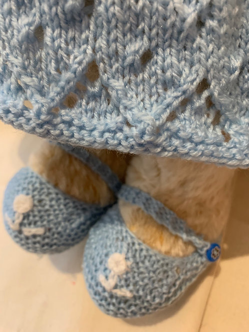 Bear Couture - Knitted blue summer dress & booties