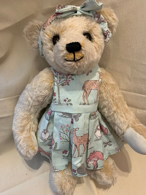 Bear Couture- cotton summer woodland animal print dress and head band