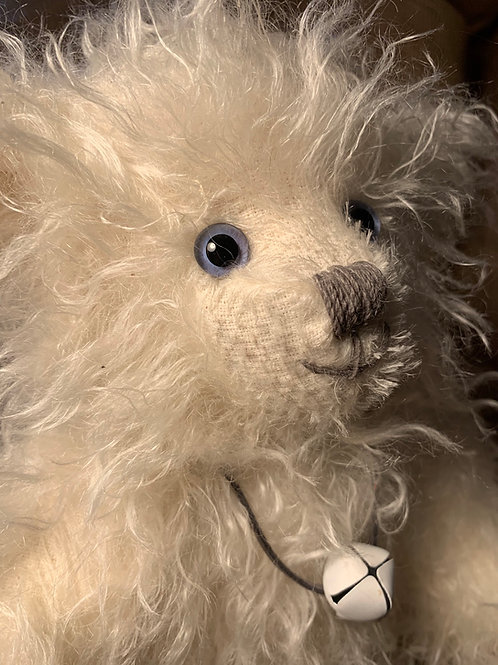 Traditional long haired white mohair bear with Harris tweed Paws