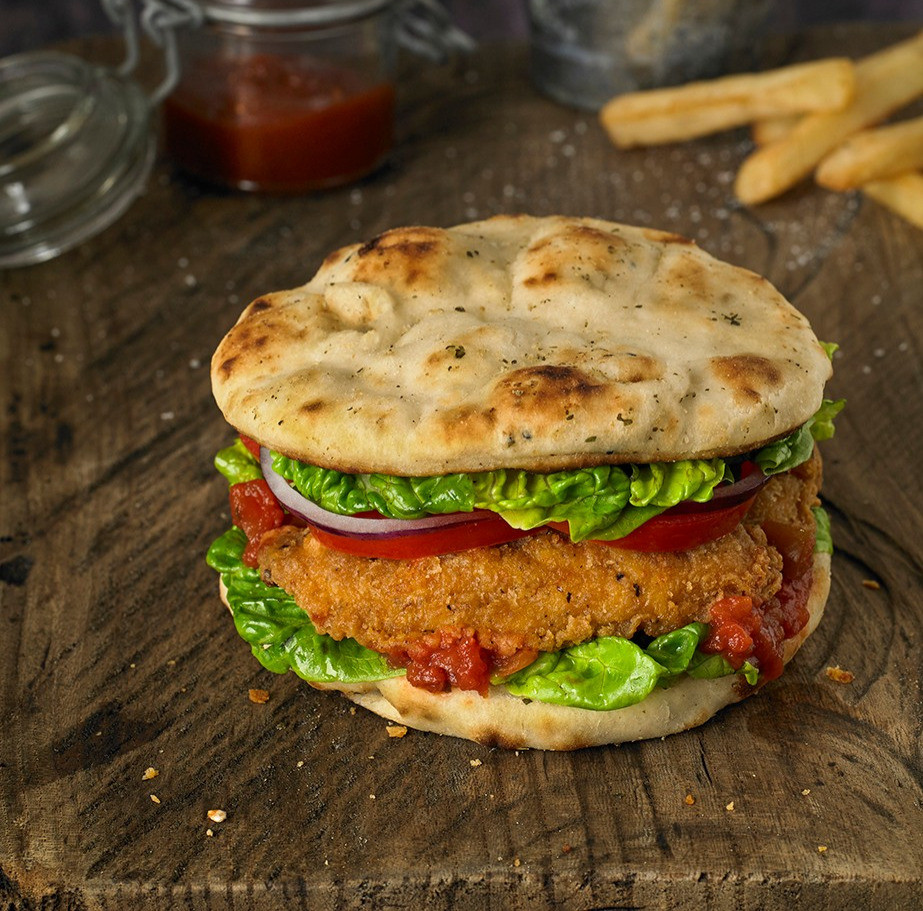 Southern Fried Crispy Chicken Strips Naan Burger