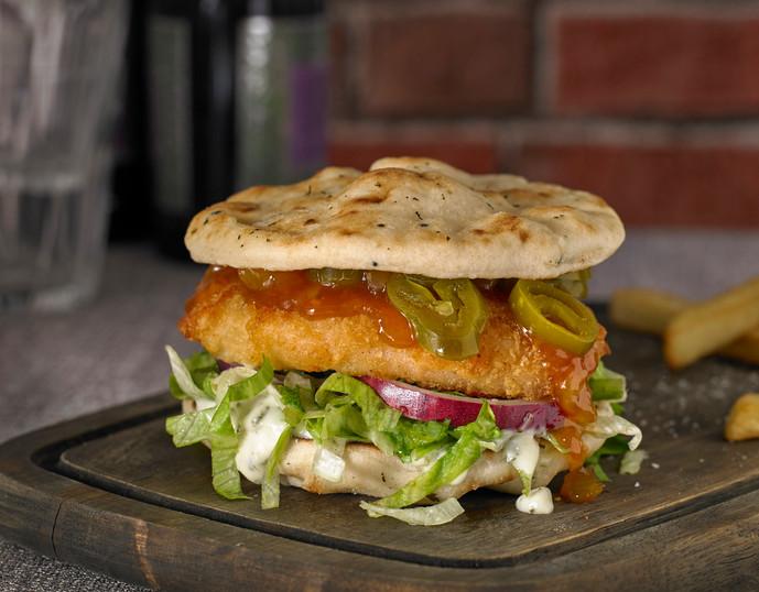 Chicken Naan Burger with Mango Chutney