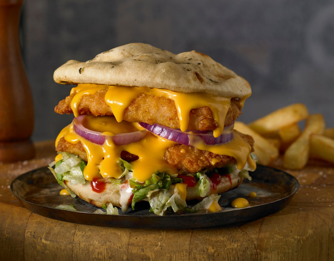 American Style Chicken Fillets Naan Burger with Cheese