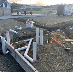 Preslab / subfloor plumbing for a new home