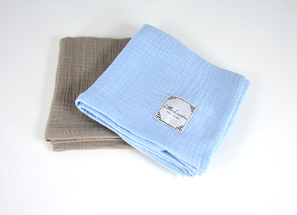 MUSLIN COVERS SIZE S - SET OF TWO BLUE/BROWN