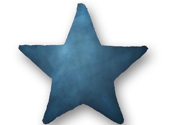 DECORATIVE PILLOW STAR - MINKY DARK BLUE
