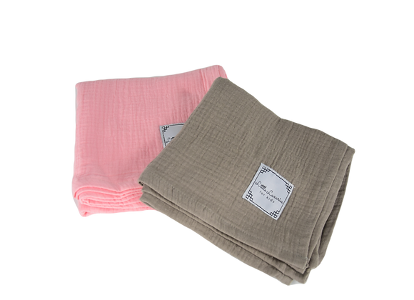 MUSLIN COVER SIZE L - SET OF TWO PINK/BROWN