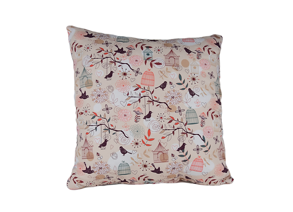 DECORATIVE PILLOW SQUARE - BIRD ON A SWING