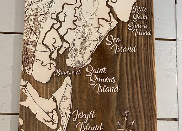 Fire & Pine Laser Engraved SSI Map Mediu