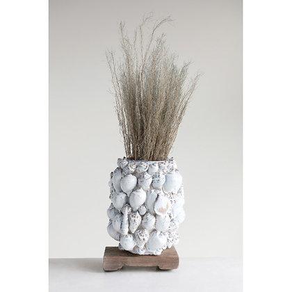 Handmade Stoneware Vase w/ Shells