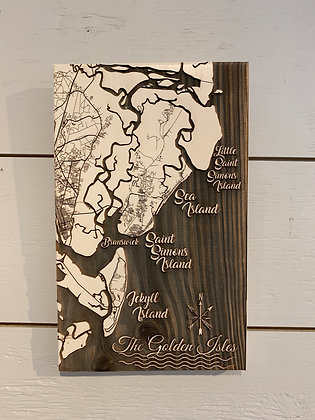 Fire & Pine Laser Engraved SSI Map Small