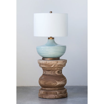 Ceramic Table Lamp w/ Natural Linen Shade