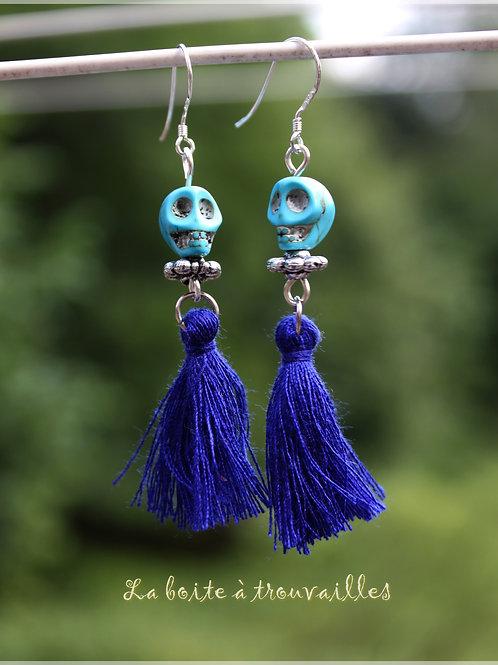 """Boucles d'oreilles """"Vaudoo"""" bleues"""