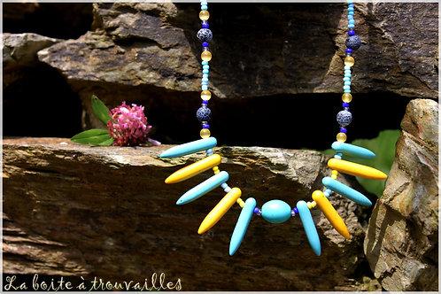 """Collier """"Color Tribe"""" Turquoise, Agate craquelée et Howlite"""