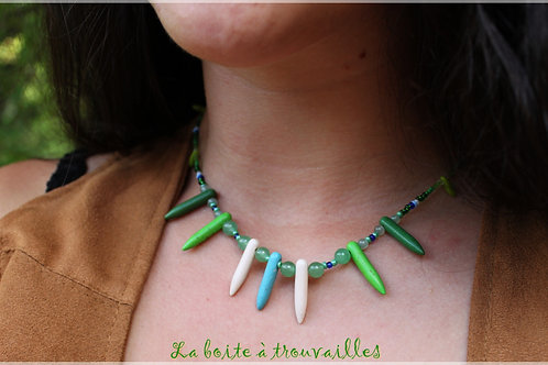 "Collier ""Color Tribe"" Aventurine et Howlite"