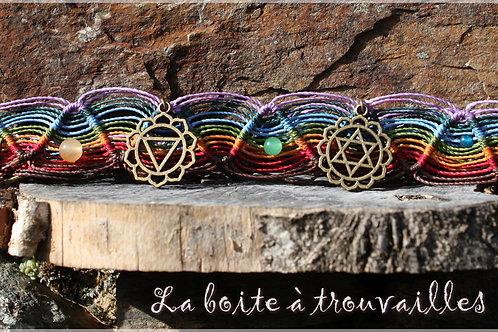 "Bijou de tête macramé ""7 chakras"" pierres associées"