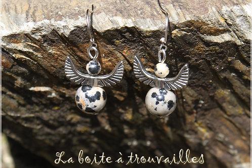 """Boucles d'oreilles """"Ange"""" Jaspe dalmatien"""