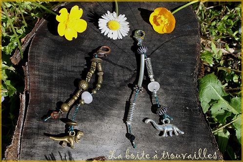 """Duo de porte-clés """"DinoQuartz"""" argent et bronze"""