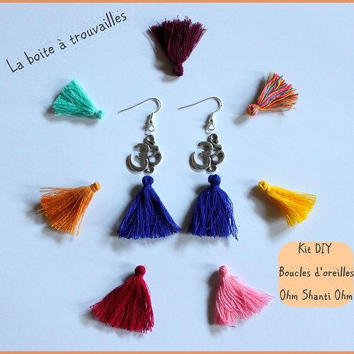 """Kit DIY """"Boucles d'oreilles """"Ohm Shanti Ohm"""" couleur au choix"""
