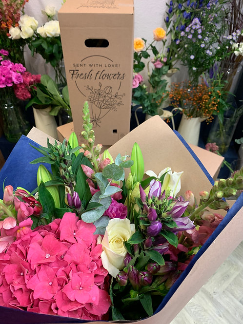 Hand tied flowers by post
