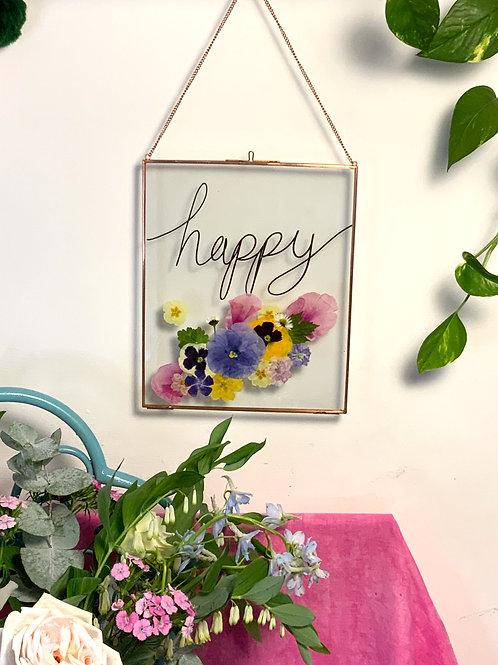Happy Pressed Flower Frame (black)
