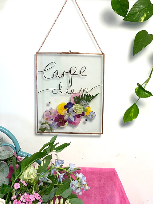 Carpe Diem Pressed Flower Frame(black)