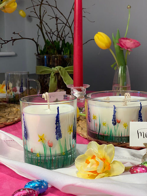 Hand painted wild flower candle