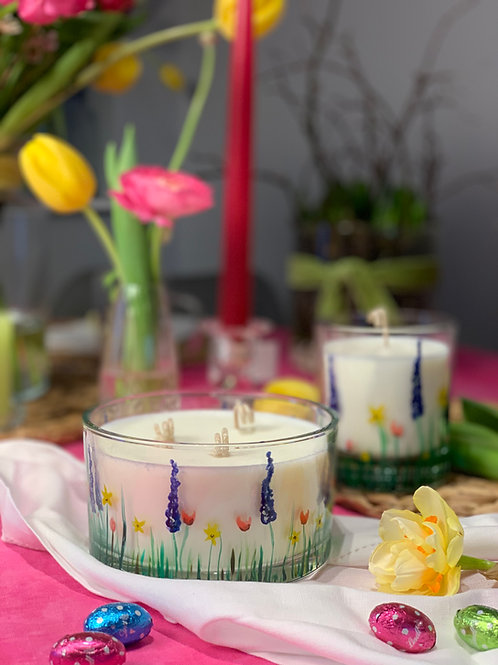 Wild flower hand painted scented large candle