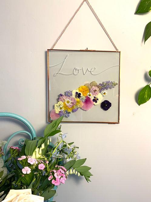 Love pressed flowers frame (white)