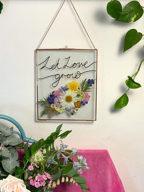Let Love Grow Pressed Flower frame  (Black)