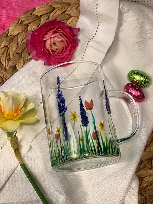 Wild flowers glass mug