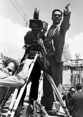 Pier Paolo Pasolini at the camera Tonino Delli Colli, cinematographer, set of Beggar, Ponte S. Angelo, Rome, 1961