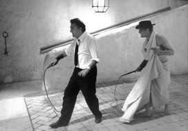 Federico Fellini and Marcello Mastroianni on the set of 8 1⁄2, 1962