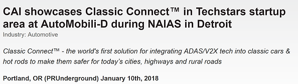 Classic Connect, NAIAS, AutoMobili-D press release