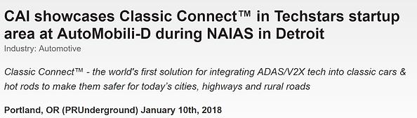 Classic Connect, NAIAS, AutoMobili-D press release