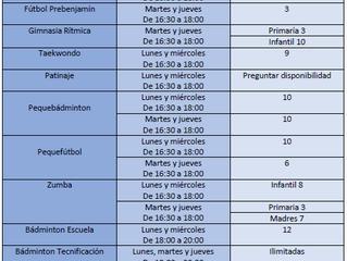 Abierto el plazo de nueva matriculación a las extraescolares del curso 2020/21