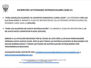 Fechas de matriculación Actividades Extraescolares 2020/21