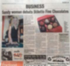 Article in Sandy Post regarding debut of Stiletto finechocolate