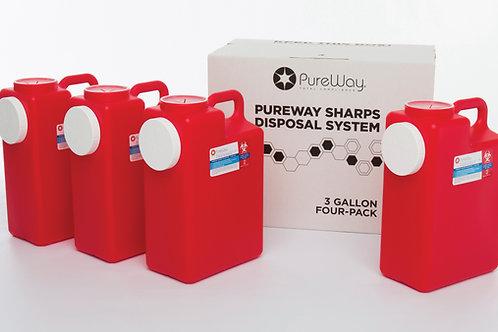 3 GALLON SHARPS DISPOSAL SYSTEM (4 PACK)