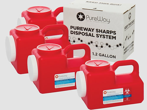 1.2 GALLON SHARPS DISPOSAL SYSTEM (4 PACK)