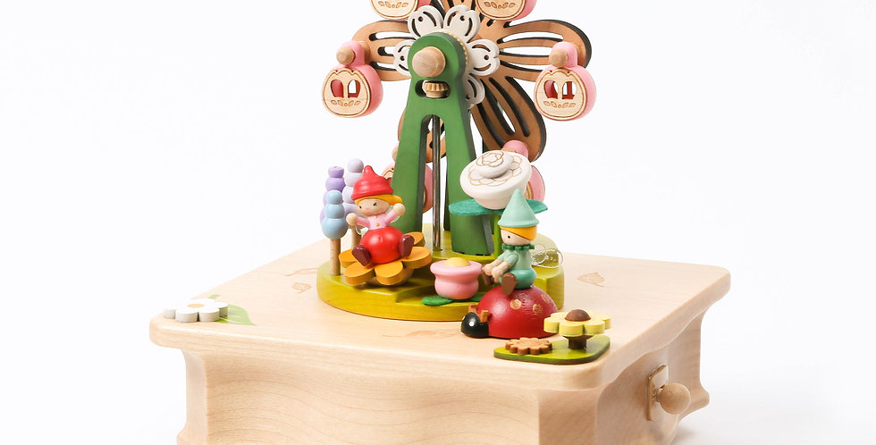 Ferris wheel, rotation, vibrant, fairy, capsules, hidden rail, round and round, ladybug, sankyo, wooden, music boxes, pink