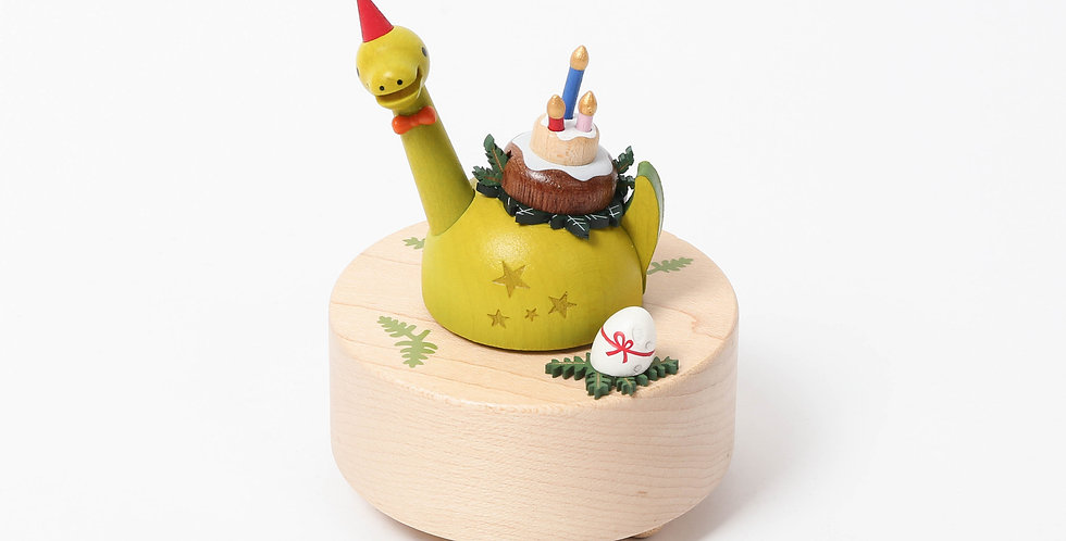 Dinosaur, birthday hat, birthday cake, green, rotation, wooden, music boxes, Sankyo, sustainability, babyshower, gifts