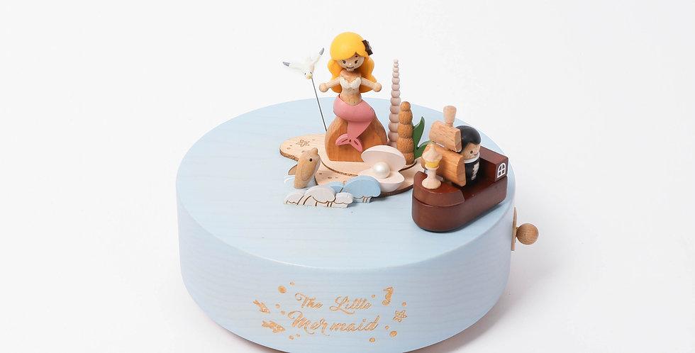 Mermaid, wooden boat, hidden rail, rotation, undersea, pearl, coral, ocean, little mermaid, music boxes, dolphins, waves