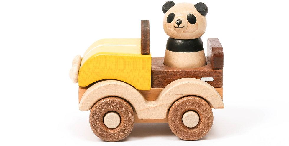 panda, yellow, red, green, car, mix and match, wood blocks, build blocks, kids, wooden toys, educational, animals, wheels,