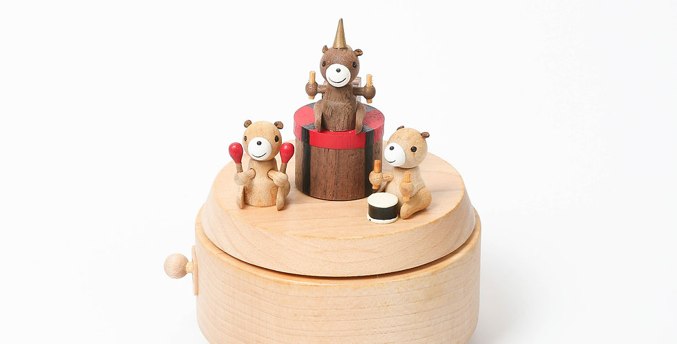 Red, Bear, Band, Music, Gifts, Wooden, Music boxes, rotation, party hats, instruments, Sankyo, Habanera, handcrafted