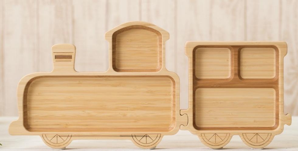 Bamboo Jigsaw Plate Set for Kids - Train