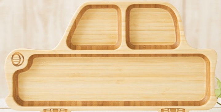Bamboo Vehicle Divided Plate for Kids