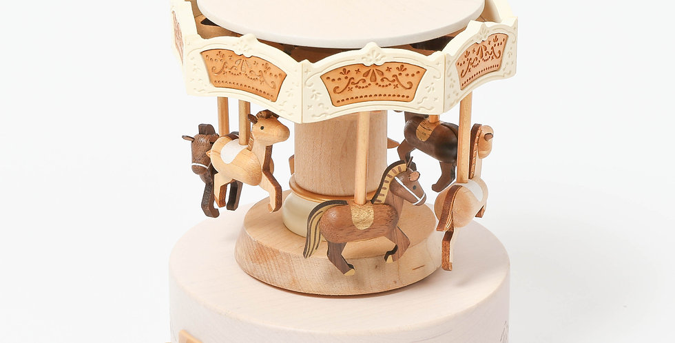 horse, carousel, merry go around, gold, wooden, music boxes, rotation, move up and down, sankyo, wind up, wooden, handcrafted
