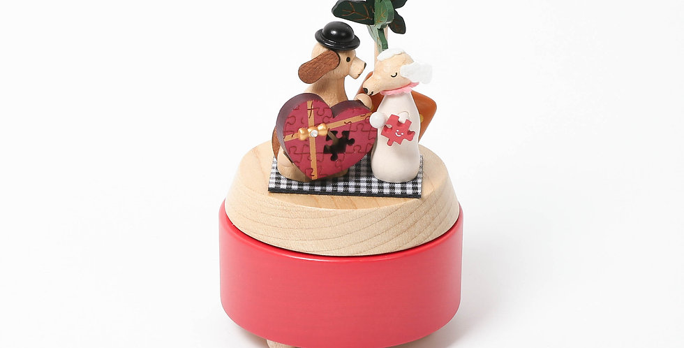 Dog Lovers Wooden Music Box