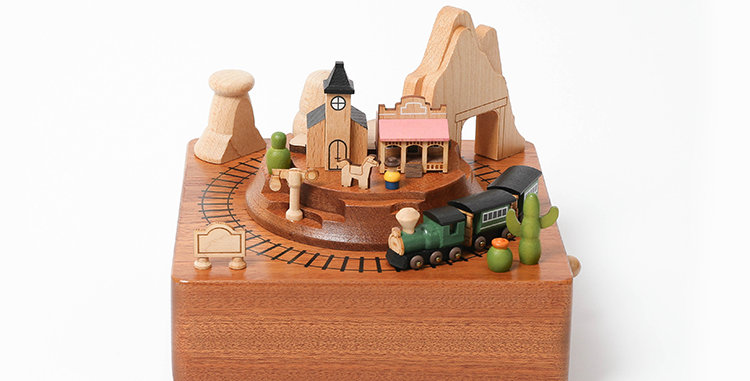 Western Train Wooden Music Box